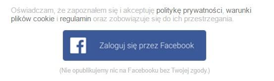 Rejestracja za pomocą Facebooka