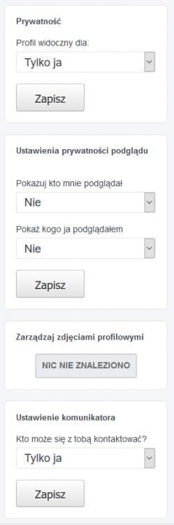 Ustawienia prywatności